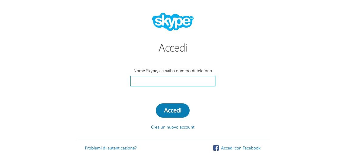 chat skype senza installazione
