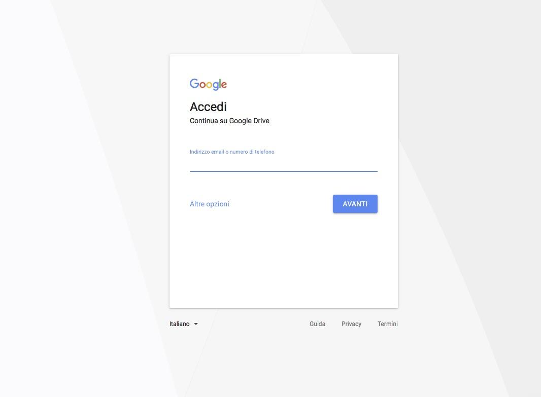 Accedere a Google Drive