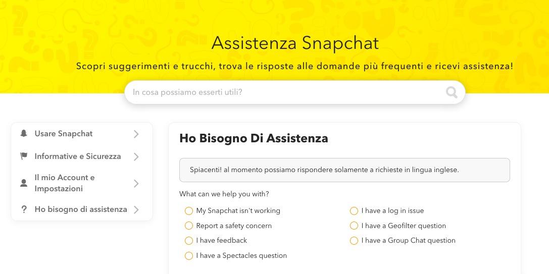 Assistenza Snapchat