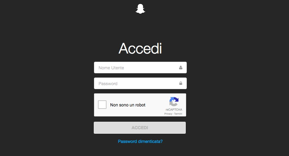 Cancella account Snapchat login