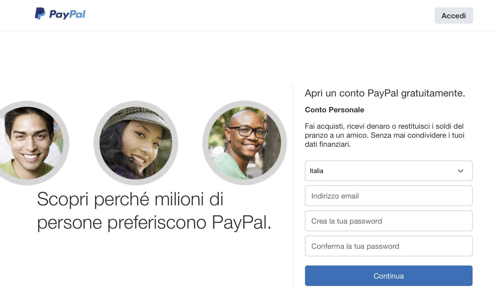 Creare conto PayPal