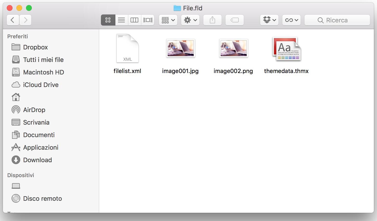 Esportare immagini da file Word come HTML