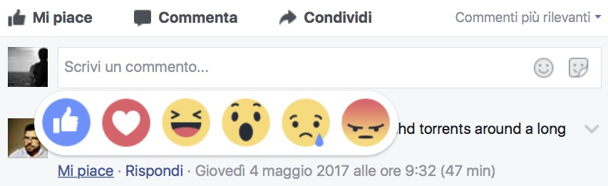 Facebook Reactions nei commenti