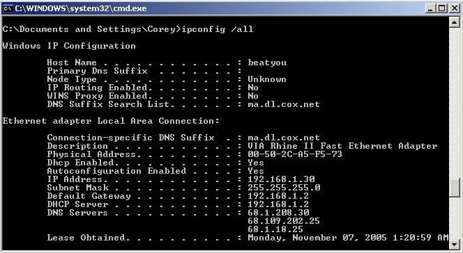 Indirizzo modem router Windows