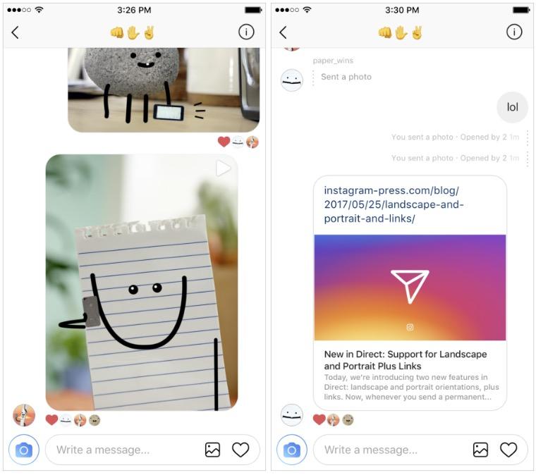 Instagram Direct foto e link anteprima