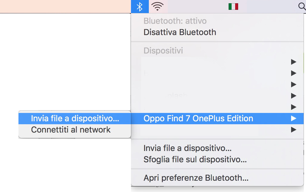 Invio file Android a Mac Bluetooth