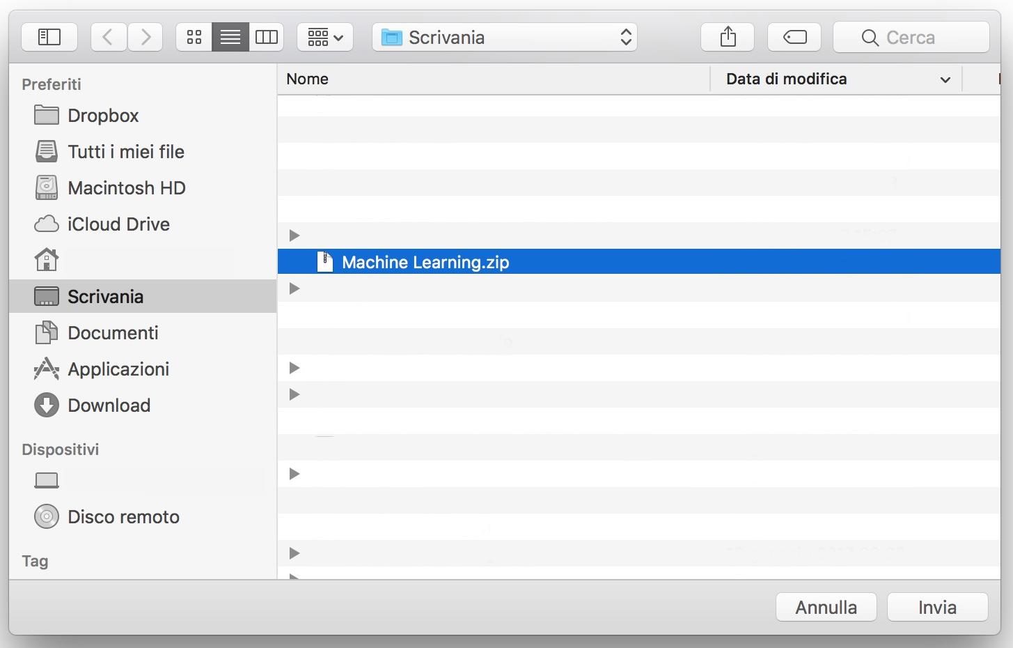 Seleziona file per invio Bluetooth da Mac ad Android