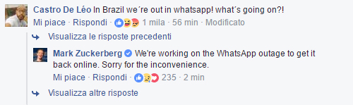 Zuckerberg WhatsApp down