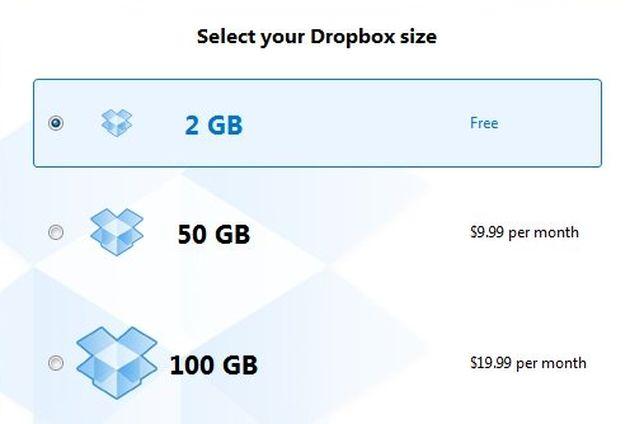 spazio archiviazione dropbox