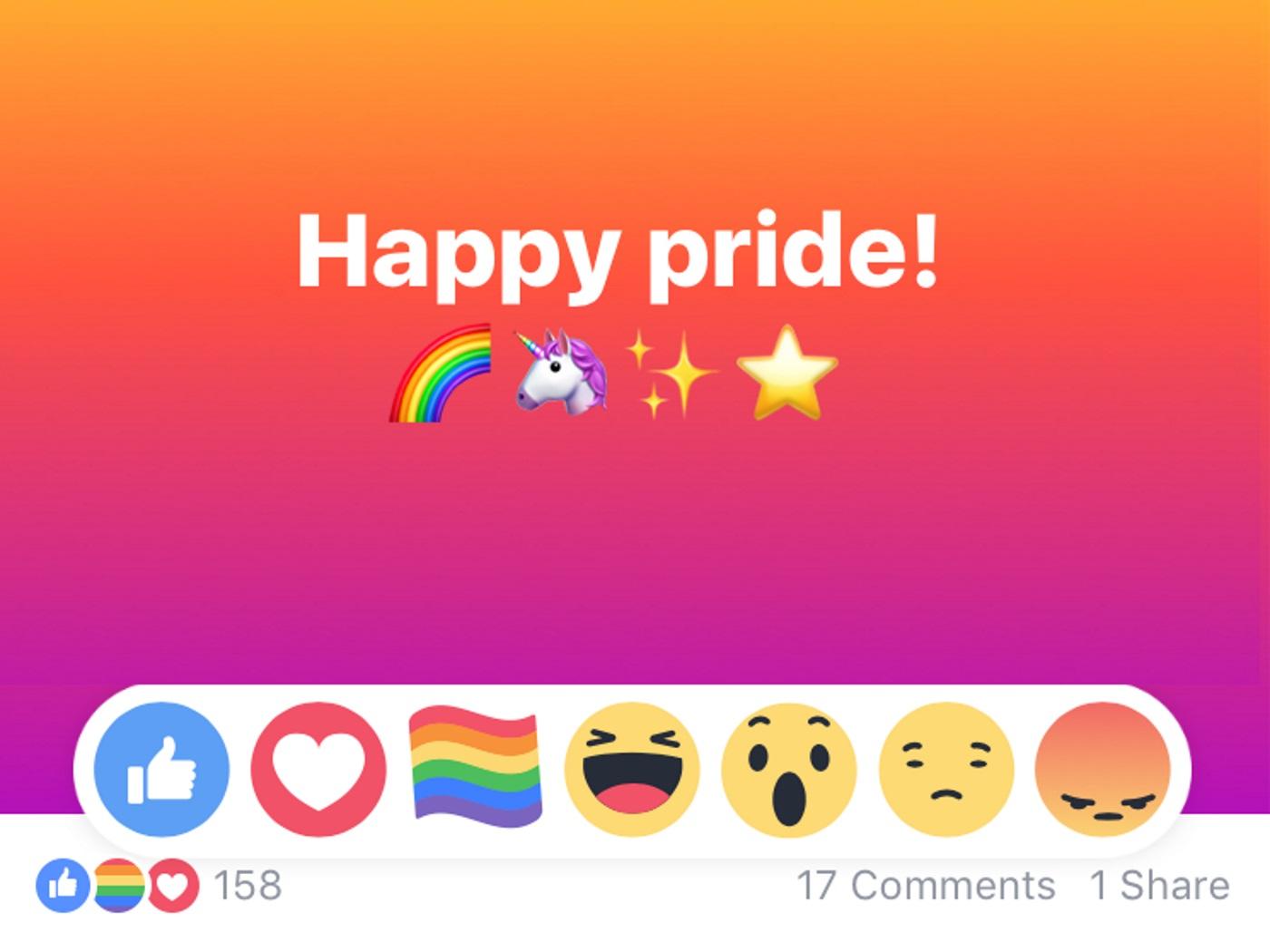 Facebook Reaction bandiera arcobaleno