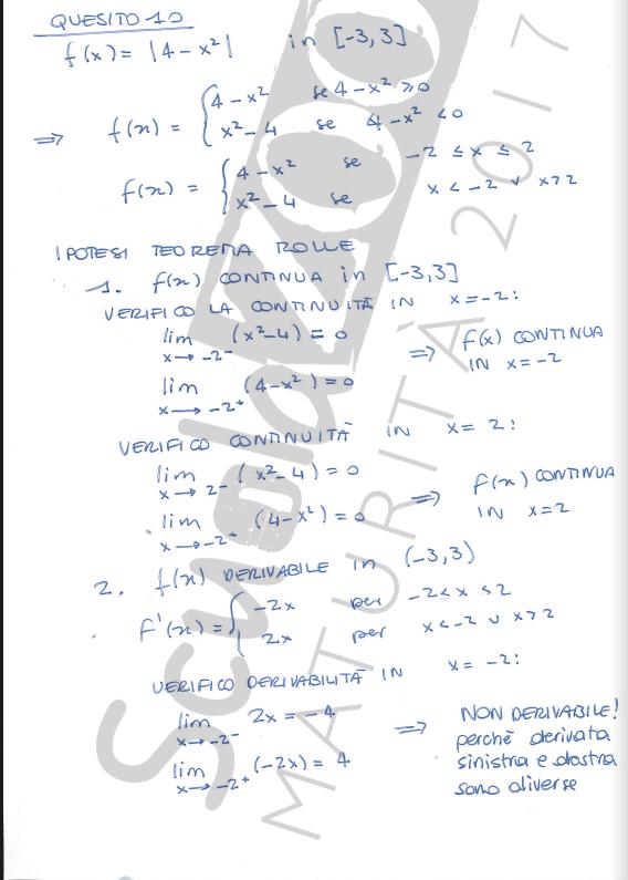 Matematica soluzione quesito 10 Maturità 2017 pagina 2