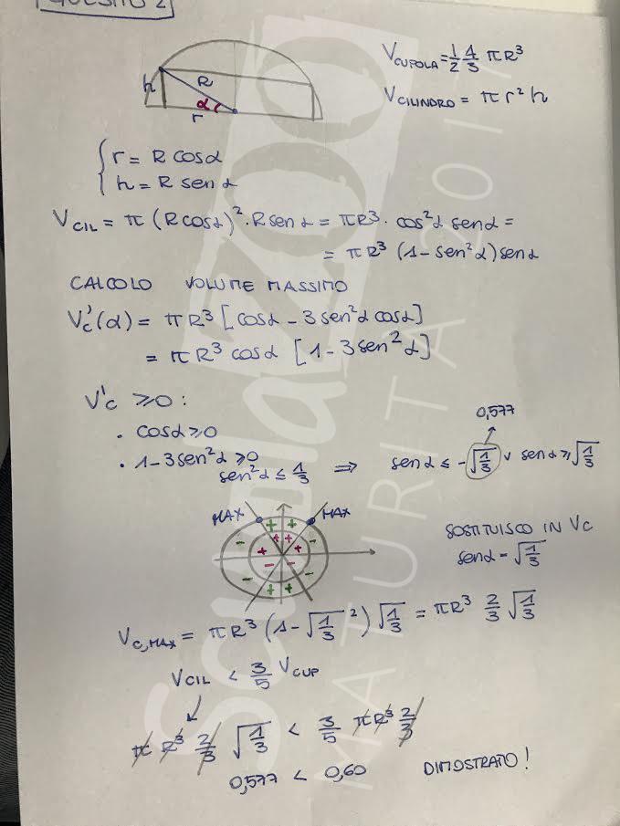 Matematica soluzione quesito 2 Maturità 2017
