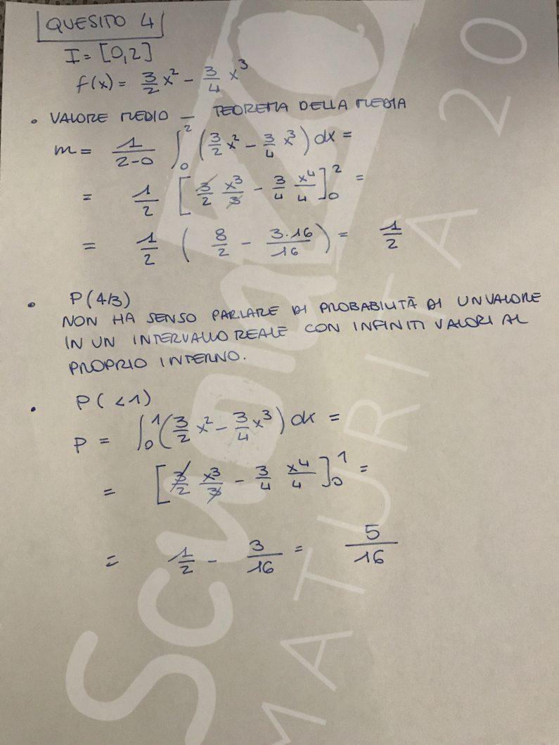 Matematica soluzione quesito 4 Maturità 2017