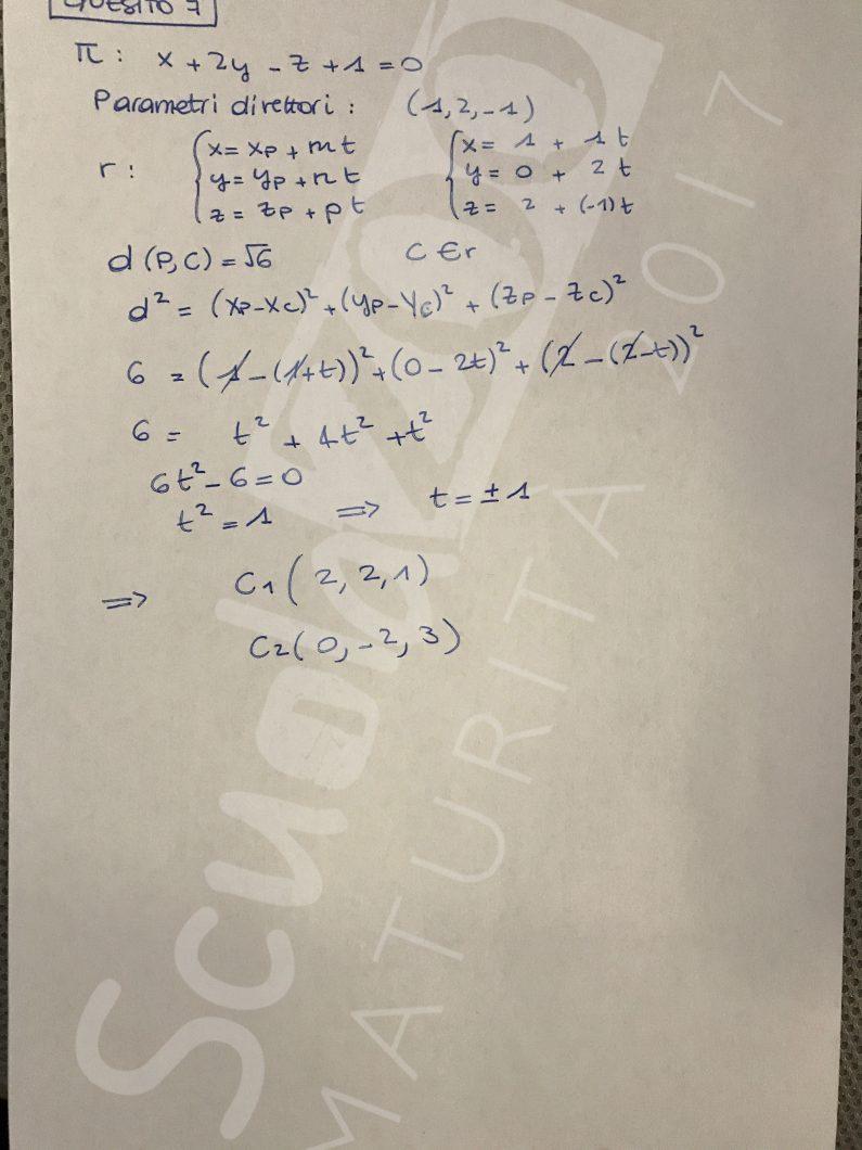 Matematica soluzione quesito 7 Maturità 2017