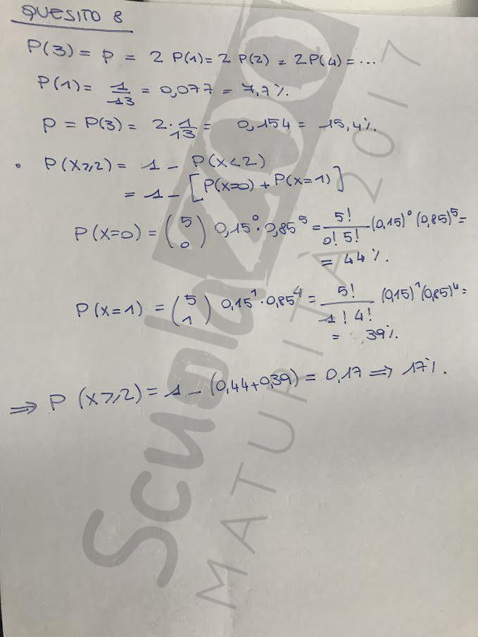 Matematica soluzione quesito 8 Maturità 2017