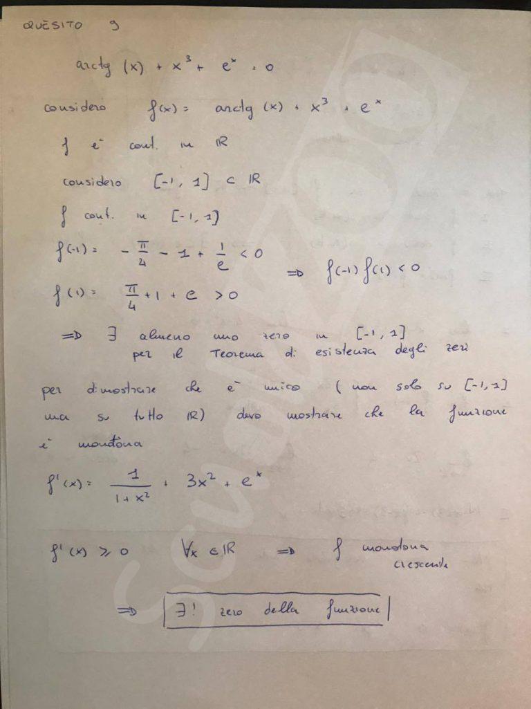 Matematica soluzione quesito 9 Maturità 2017