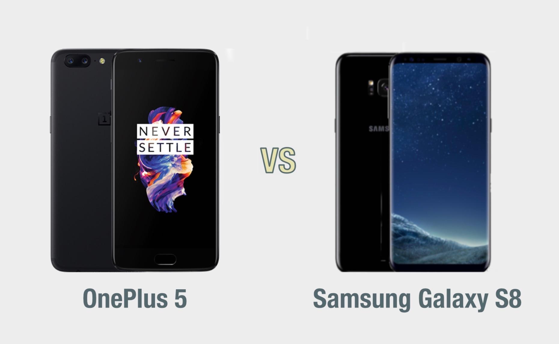 OnePlus 5 vs Samsung Galaxy S8: il confronto