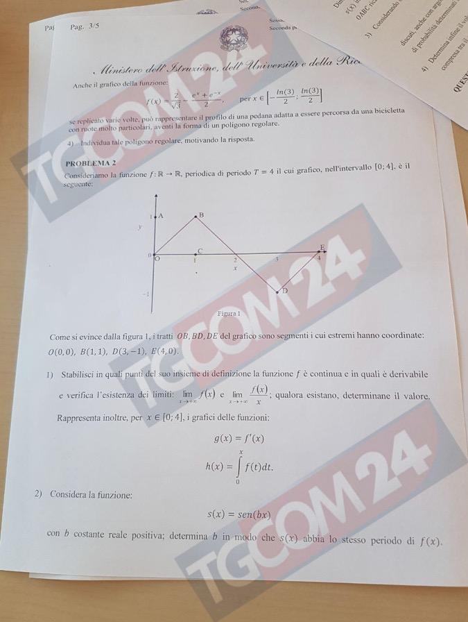 Problemi seconda prova di matematica terza pagina