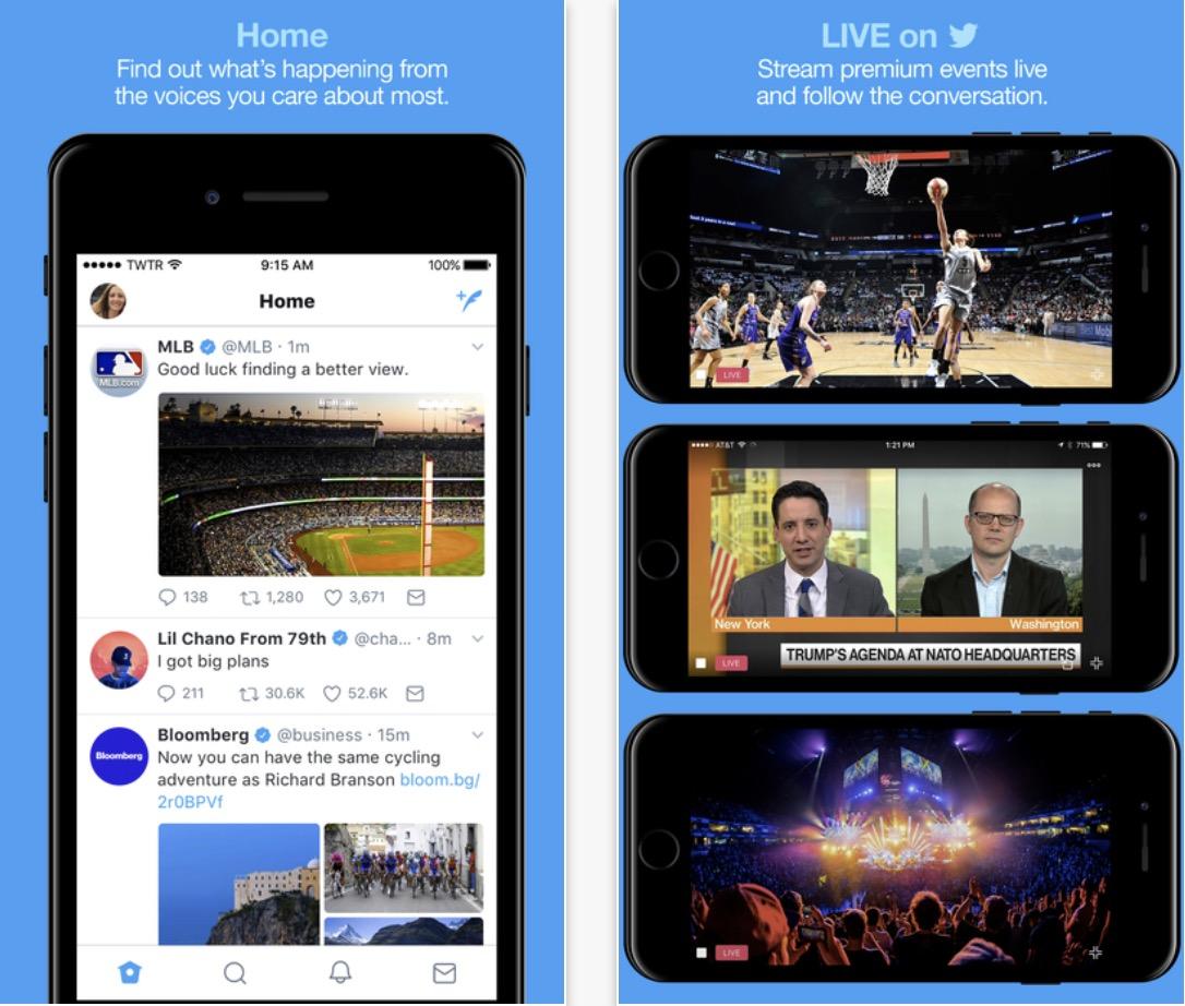 Schermata Twitter per iOS aggiornamento