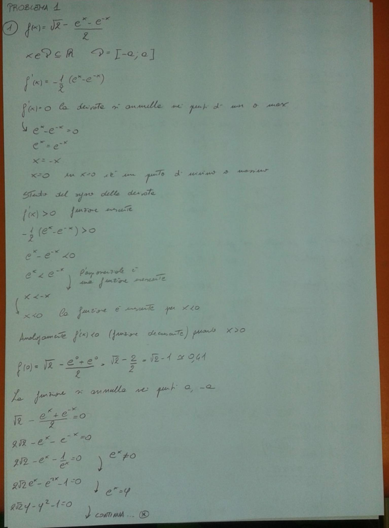 Soluzione primo esercizio matematica Maturità 2017 pagina 1