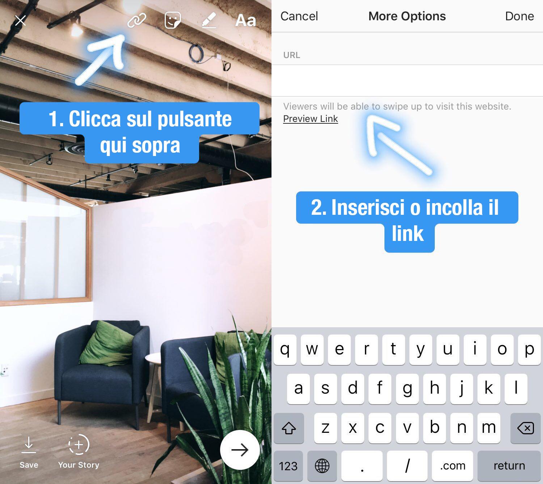 Aggiungere link Instagram Stories