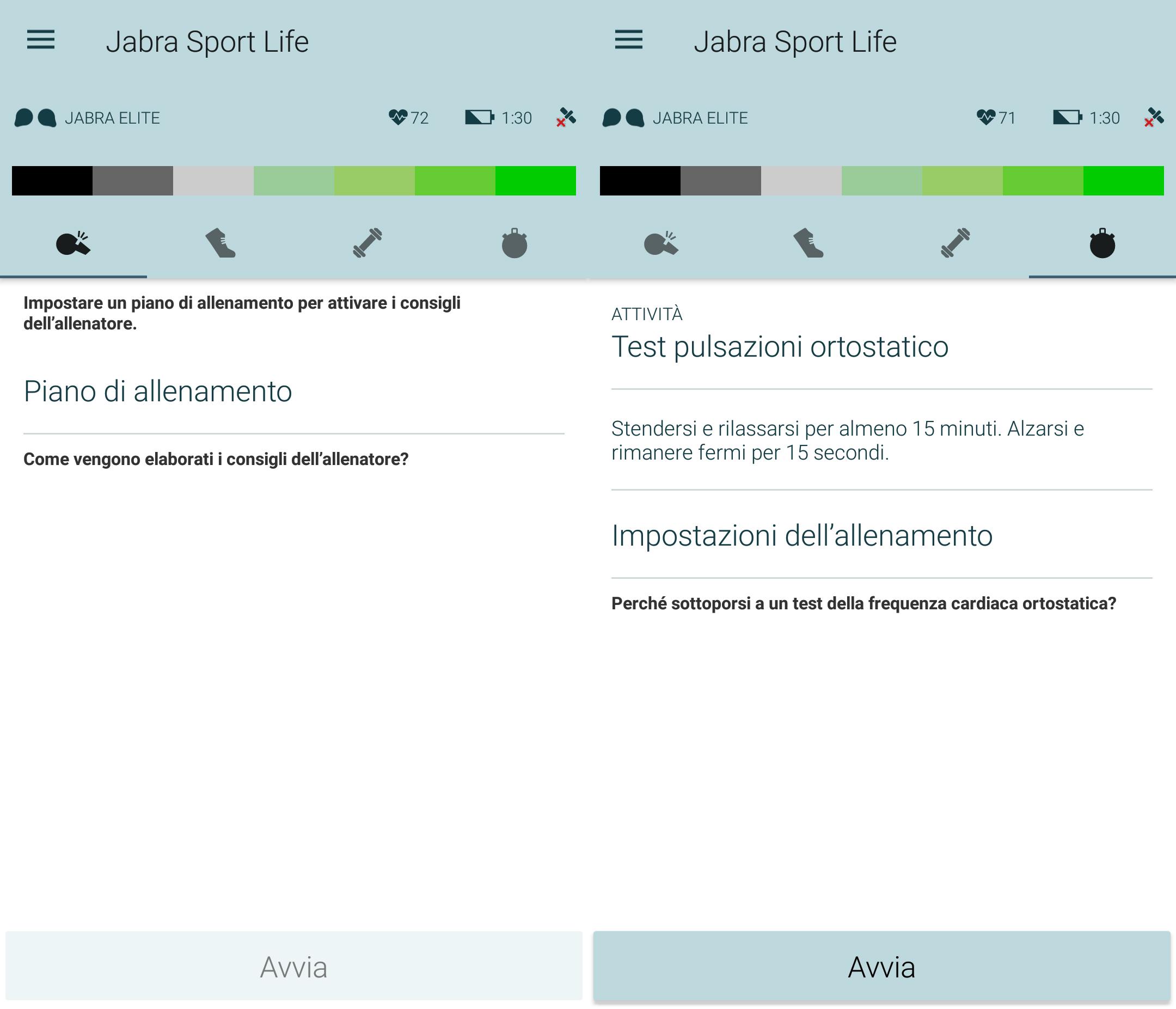 Jabra Sport Life schermata test