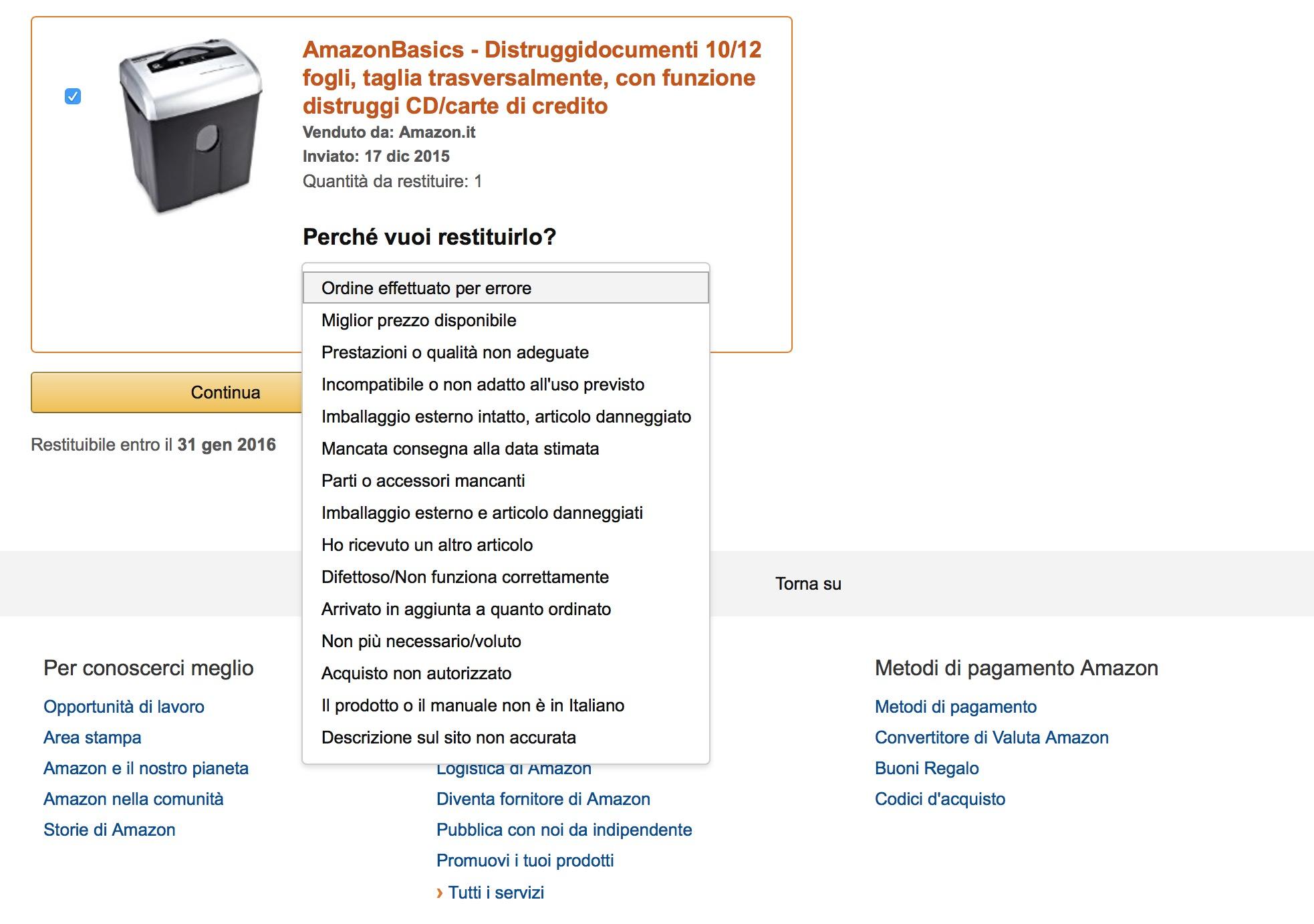 Motivo rimborso prodotto Amazon
