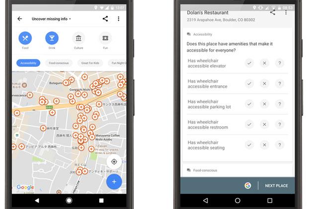 Google Maps fornisce informazioni sull'accessibilità per i disabili