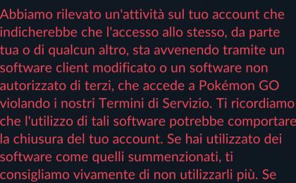 Pokemon Go spoof: il messaggio che avvisa del rischio ban