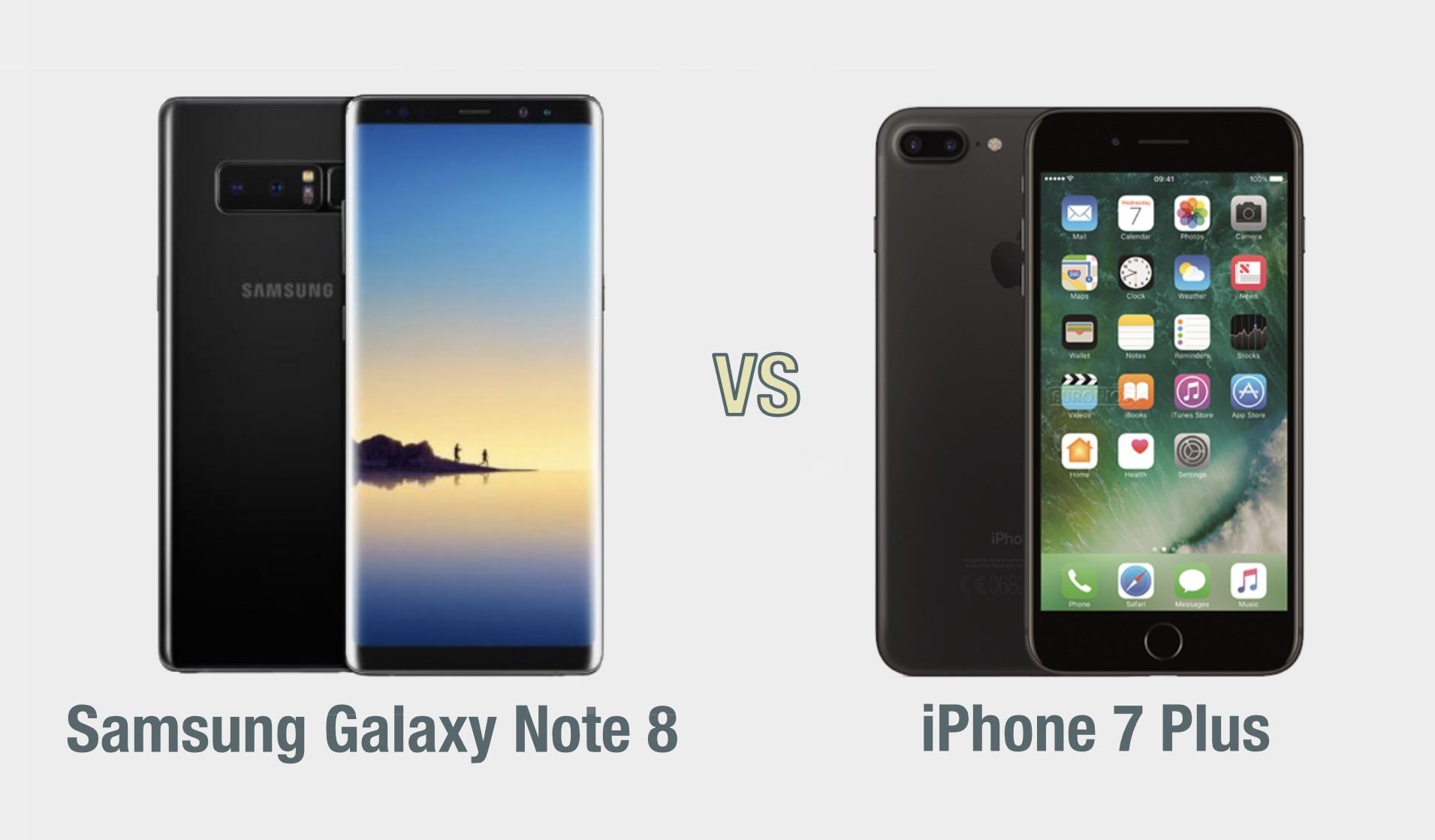Samsung Galaxy Note 8 vs iPhone 7 Plus: il confronto
