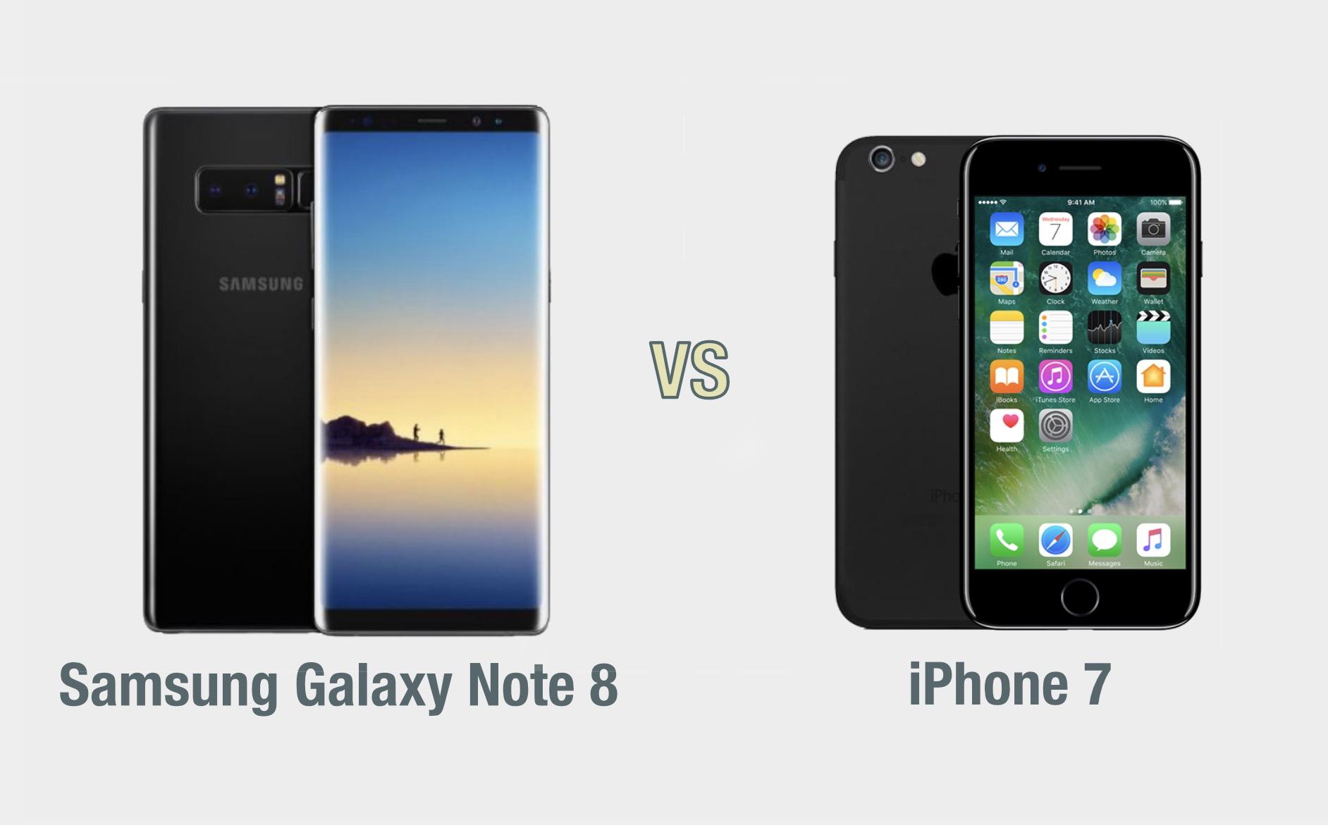 Samsung Galaxy Note 8 vs iPhone 7: il confronto