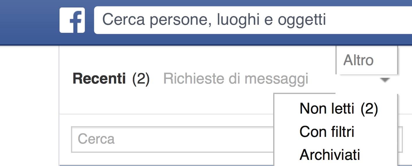 Messaggi Facebook non letti