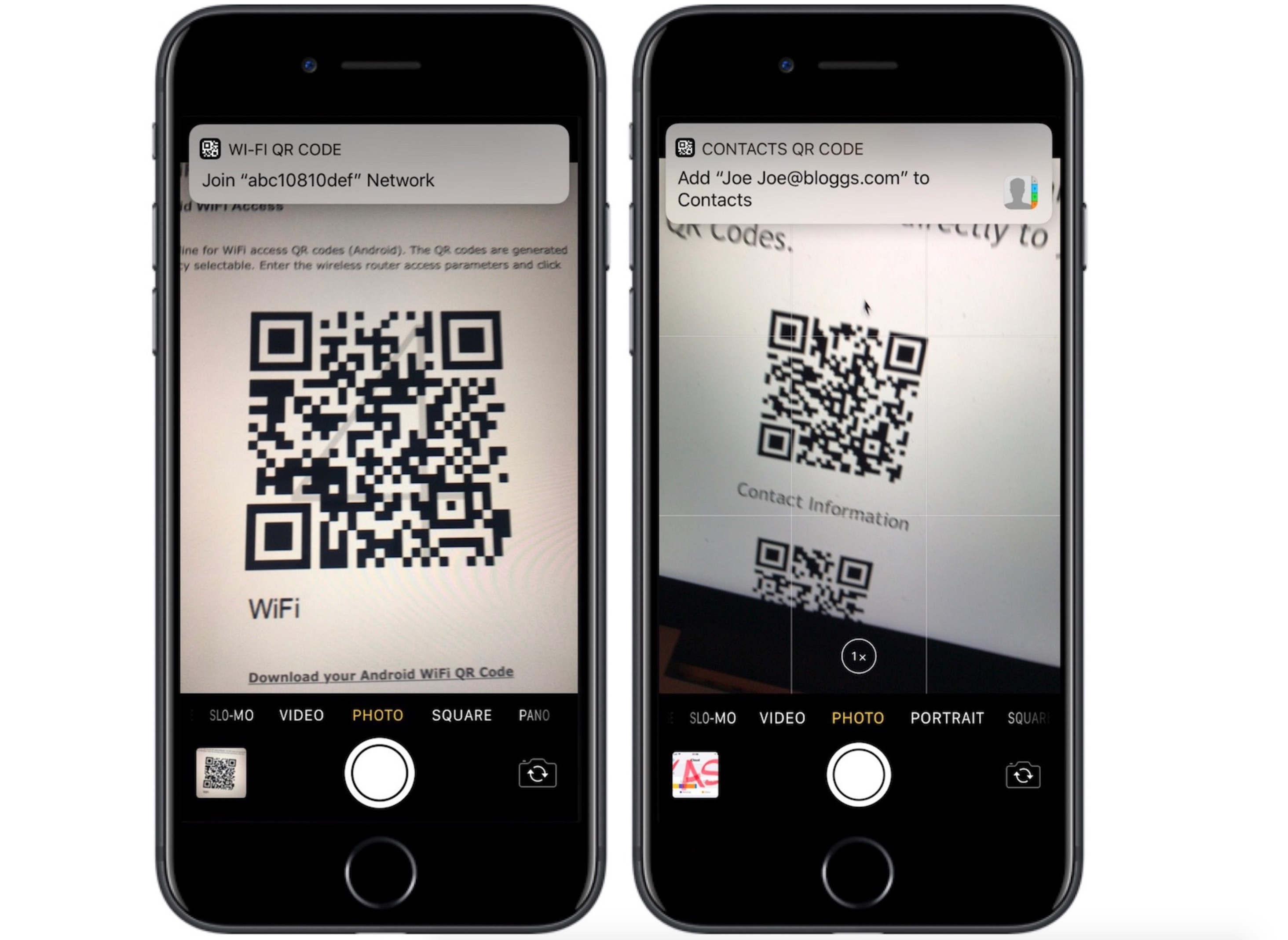 QR code iOS 11
