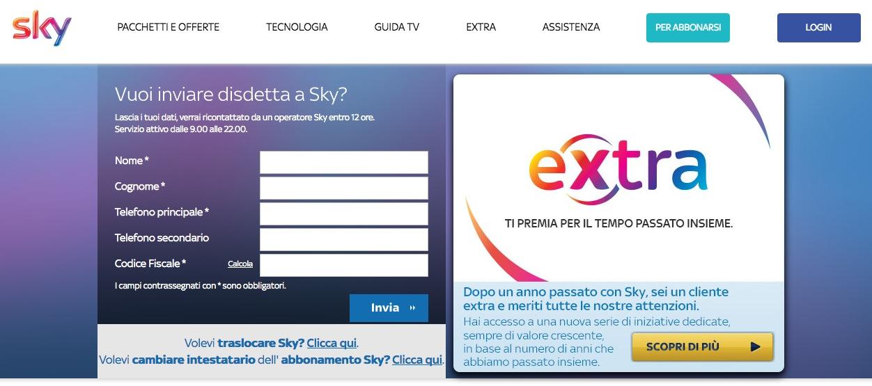 Sky pagina disdetta