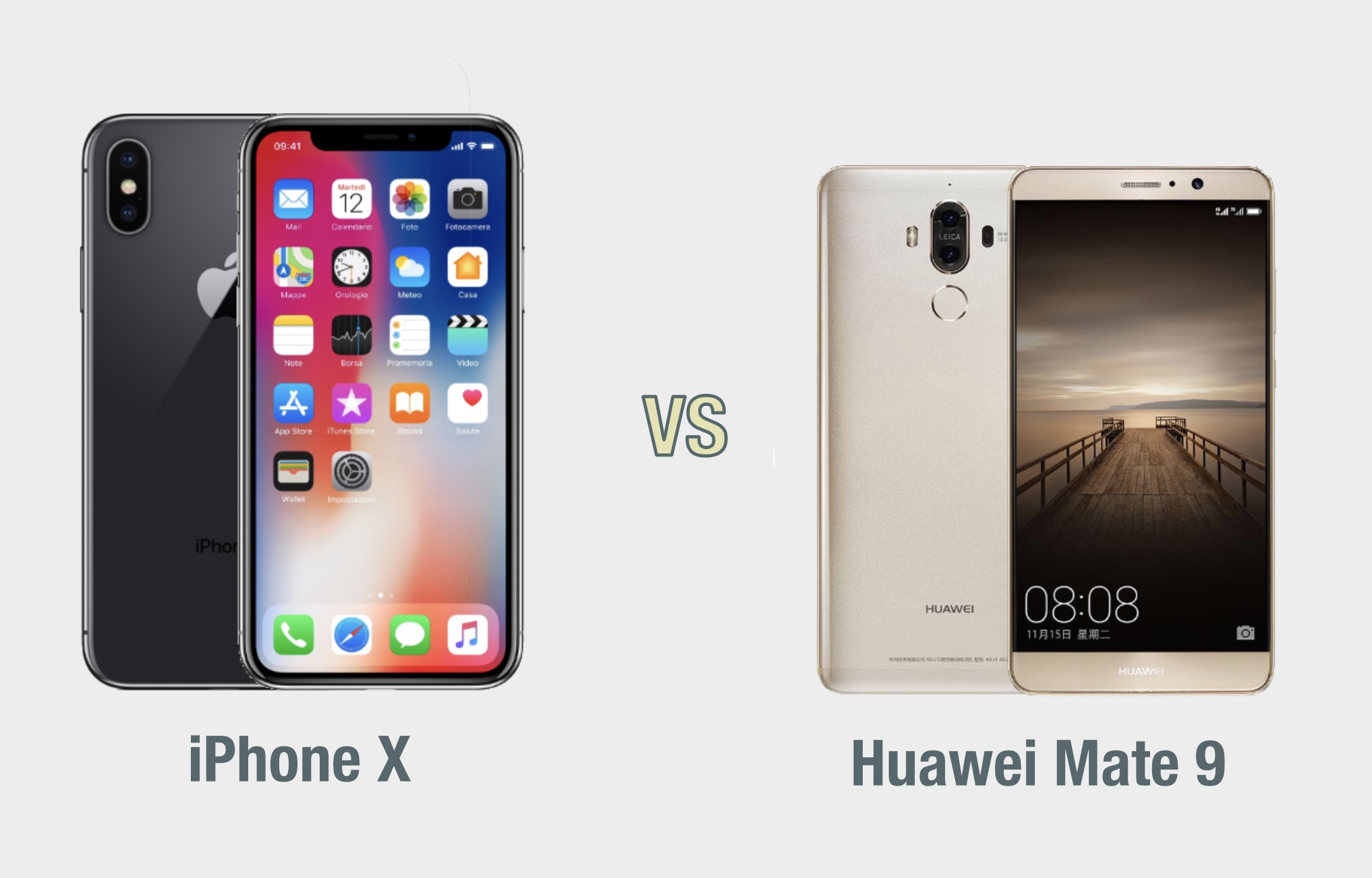 iPhone X vs Huawei Mate 9: il confronto