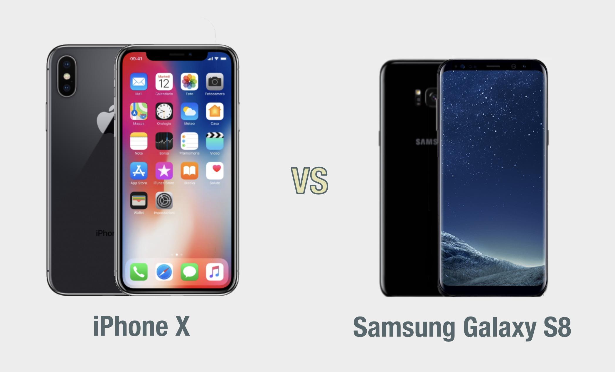 iPhone X vs Samsung Galaxy S8: il confronto