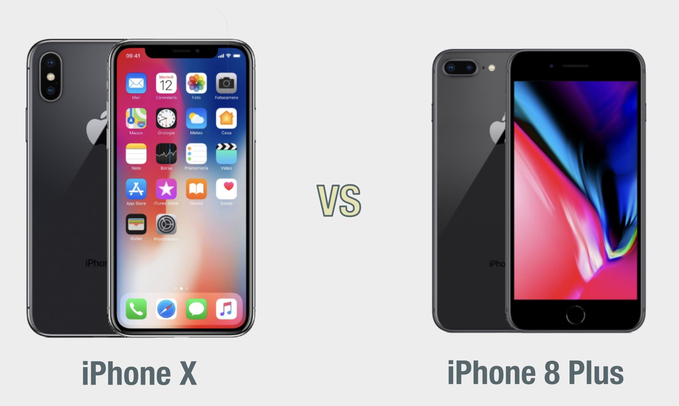 iPhone X vs iPhone 8 Plus: il confronto