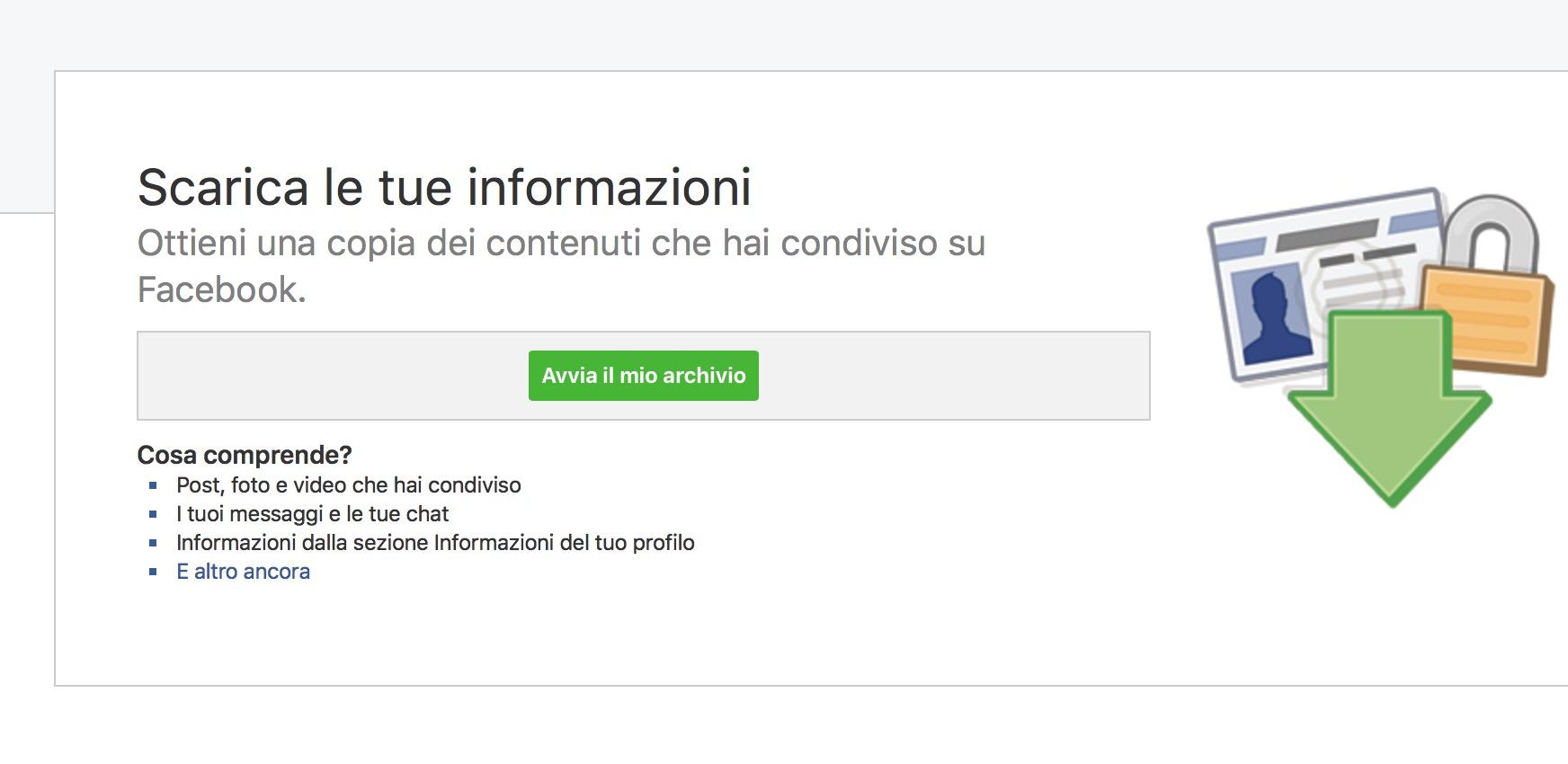Backup dati Facebook