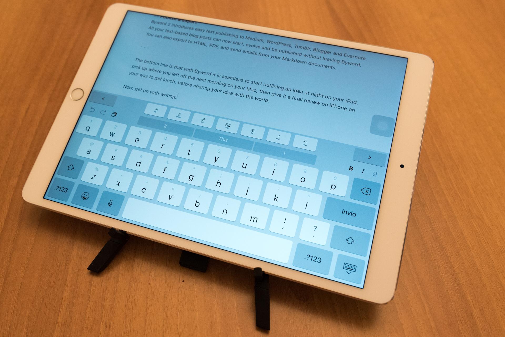 Compass 2 con iPad Pro 10.5 modalità scrittura