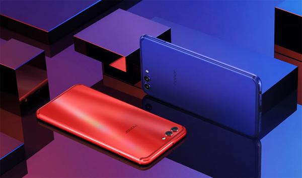 Honor V10 rosso e blu