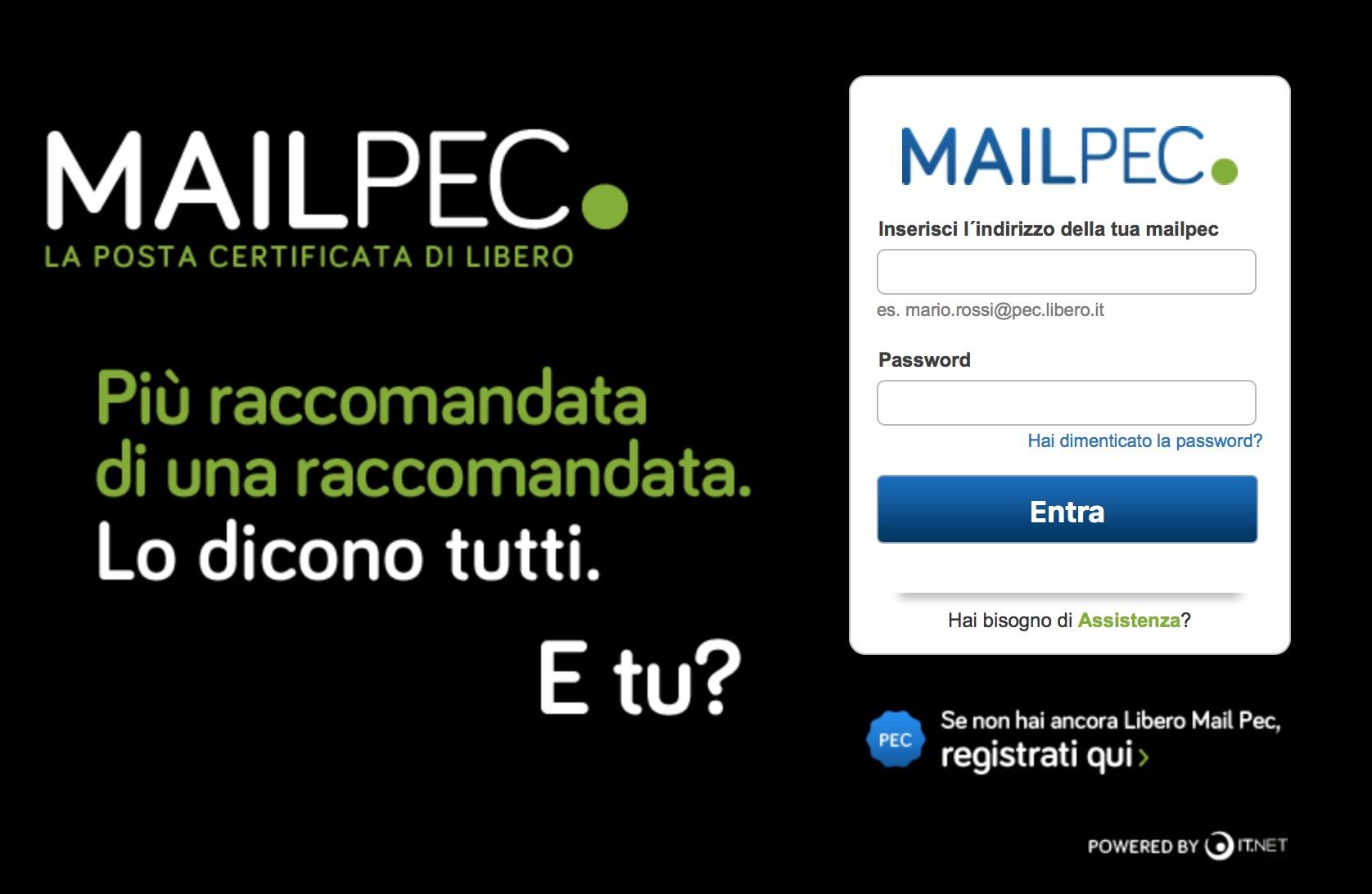 Libero Mail PEC casella posta elettronica certificata