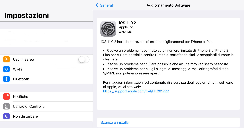 iOS 10.0.2 aggiornamento risoluzione bug e problemi