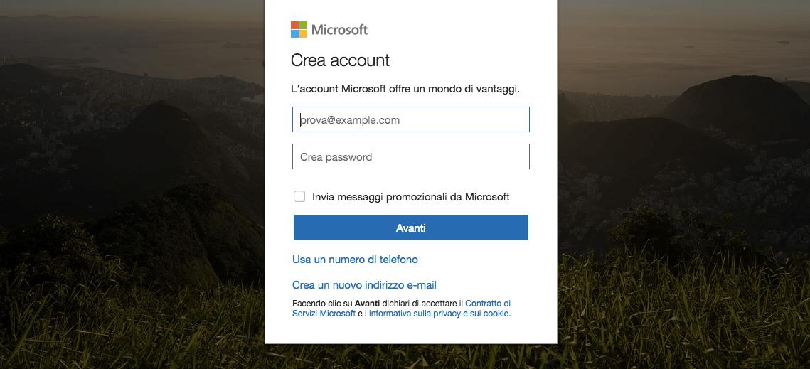 Creare account Microsoft: come si crea nuovo
