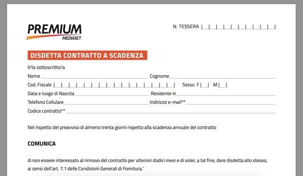 Disdetta Mediaset Premium contratto scadenza