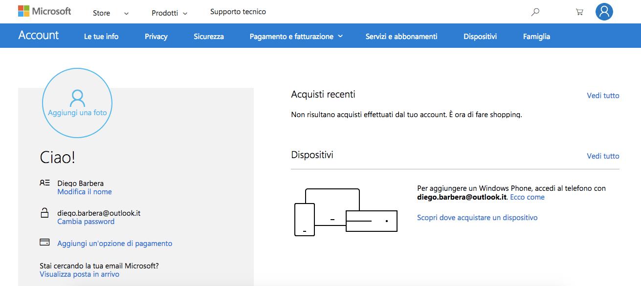 Gestione Account Microsoft
