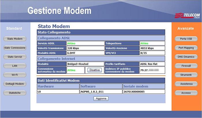 Gestione Modem Telcom Italia