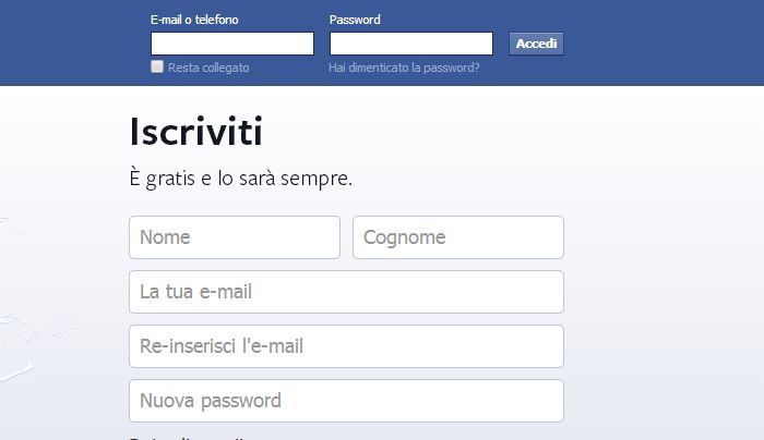 Login username e password Facebook
