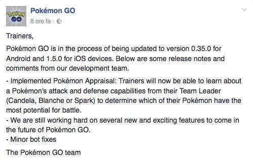 Pokemon aggiornamento Android iOS