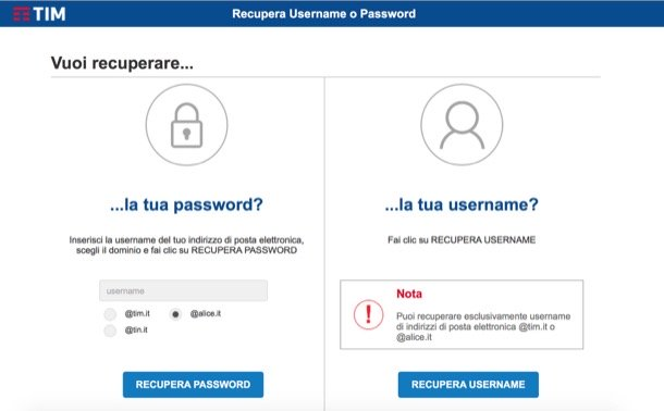 Recupera password username Alice mail