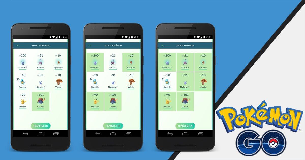 Trasferimento multiplo Pokemon Go